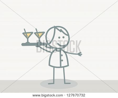 Funny Doodle : Waiter Woman.eps10 editable vector illustration design