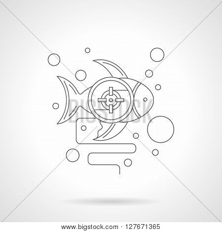 Fish with a photo targeting crosshair and bubbles. Underwater hunt. Diving and snorkeling. Symbol for ichthyology research. Detailed flat line vector icon. Web design for business, site, mobile app.