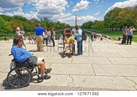 War Veteran Next To Lincoln Memorial Reflecting Pool