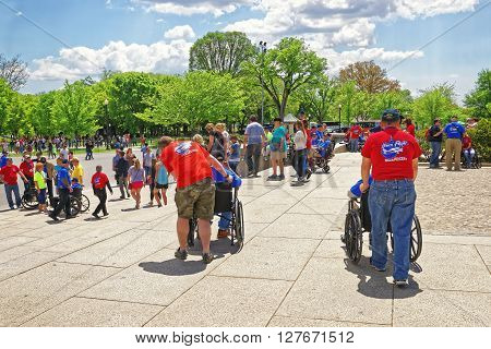 War Veterans At Lincoln Memorial Staircase In Washington Dc