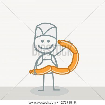 Sausage Man .eps10 editable vector illustration design