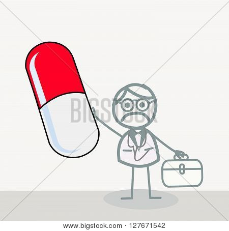 Doctor Red Capsule.eps10 editable vector illustration design