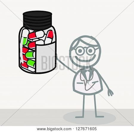 Doctor Capsule  Illustration.eps10 editable vector illustration design