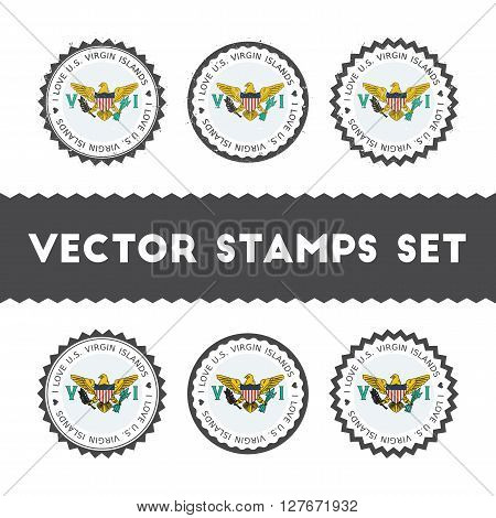 I Love Virgin Islands, U.s. Vector Stamps Set. Retro Patriotic Country Flag Badges. National Flags V