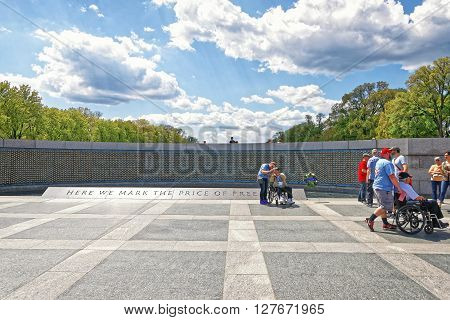 Veterans At Freedom Wall In National World War 2 Memorial