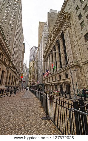 Street View Of New York Stock Exchange On Wall Street
