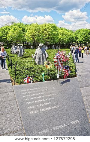 War Veterans At Korean War Veterans Memorial In Washington Dc