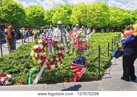War Veterans At Korean War Veterans Memorial In Washington