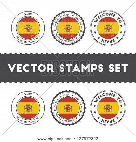 Spanish Flag Rubber Stamps Set. National Flags Grunge Stamps. Country Round Badges Collection.