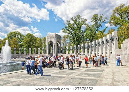 War Veterans At National World War Second Memorial Atlantic Arch