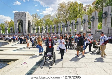 War Veterans At National World War Two Memorial Pacific Arch