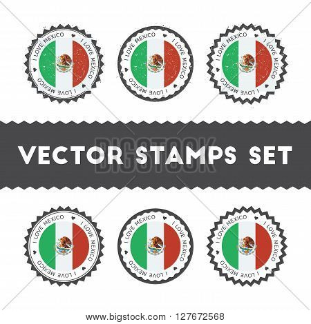 I Love Mexico Vector Stamps Set. Retro Patriotic Country Flag Badges. National Flags Vintage Round S