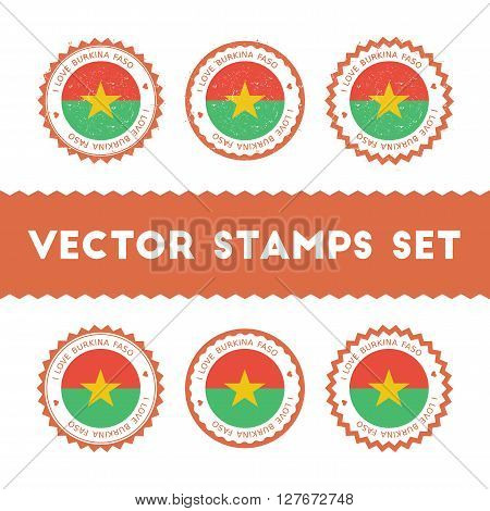 I Love Burkina Faso Vector Stamps Set. Retro Patriotic Country Flag Badges. National Flags Vintage R