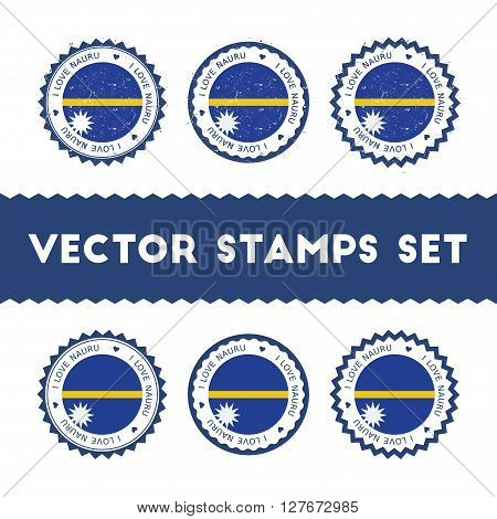 I Love Nauru Vector Stamps Set. Retro Patriotic Country Flag Badges. National Flags Vintage Round Si