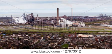 Port Talbot, UK - April 28, 2016: Tata Steel Plant at Port Talbot, South Wales, under threat of closure due to cheap imported steel from China
