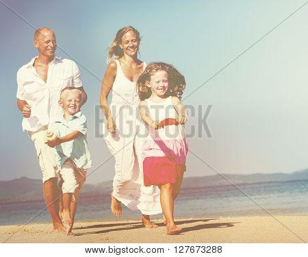 Family Running Beach Concept