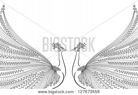 Vector illustration of two abstract, stylized peacocks, opposite each other, with luxurious tails. Design for invitation and greeting card. White background. Black and white.