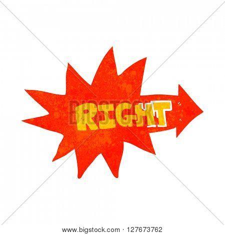 freehand drawn retro cartoon right symbol pointing