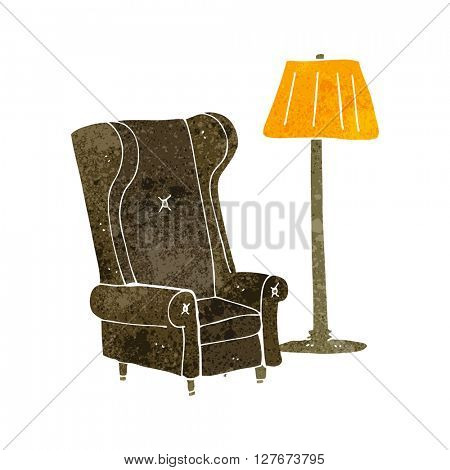 freehand drawn retro cartoon lamp and old chair