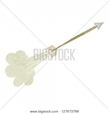freehand drawn retro cartoon flying arrow