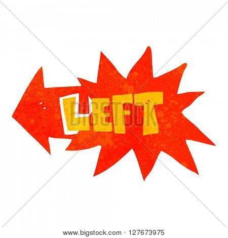 freehand drawn retro cartoon left symbol