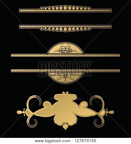 Wicker lines and old decor elements in vector. Vintage borders frame and rosette in set. Decoration for logo wedding album or restaurant menu. Collection gold decorative signs