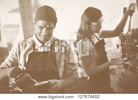 Barista Prepare Coffee Working Order Concept