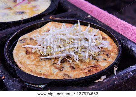 Crispy Thai Mussel Omelet , shellfish fried