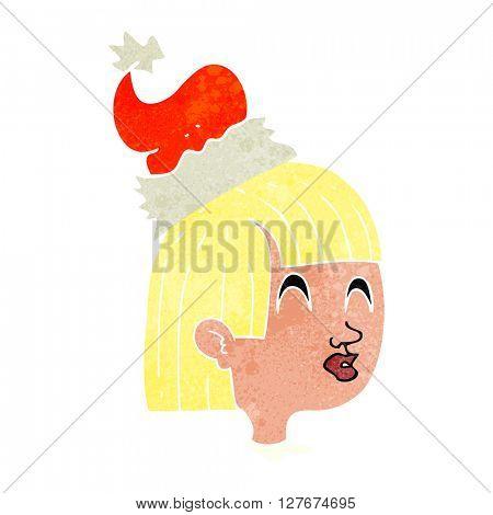 freehand drawn retro cartoon girl wearing christmas hat