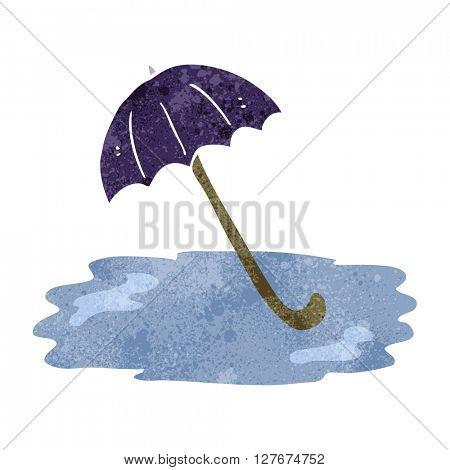 freehand drawn retro cartoon wet umbrella