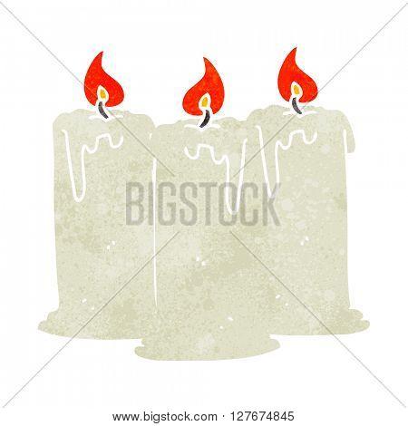 freehand drawn retro cartoon burning candles