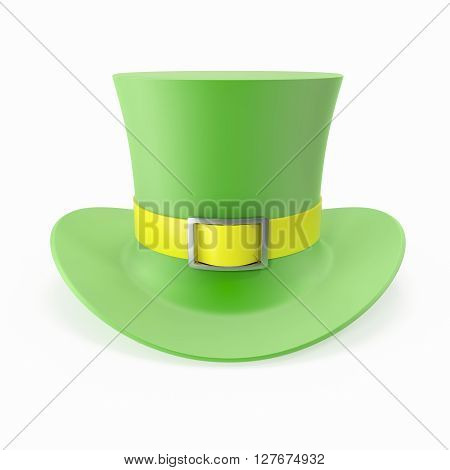 Green Top Hat, St Patricks hat. Isolated on white background. 3D illustration