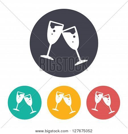 Vector flat stemware icon with set of 3 colors