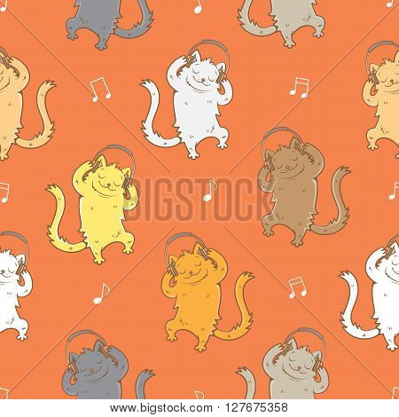 Seamless pattern with cute cartoon cats and headphones on  red background. Melody and notes. Vector image. Children's illustration.