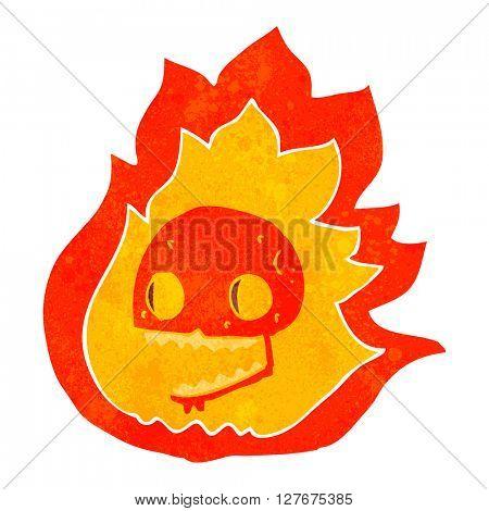 freehand drawn retro cartoon burning skull