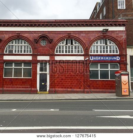 LONDON - APRIL 25: Rear view of Chalk Farm Underground Station on April 25, 2016 in London, UK.