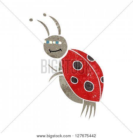 freehand drawn retro cartoon ladybug