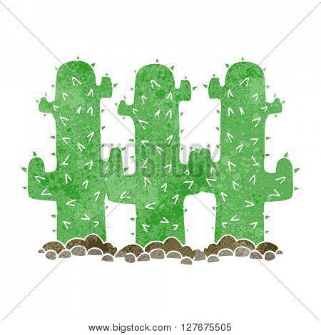 freehand drawn retro cartoon cactus