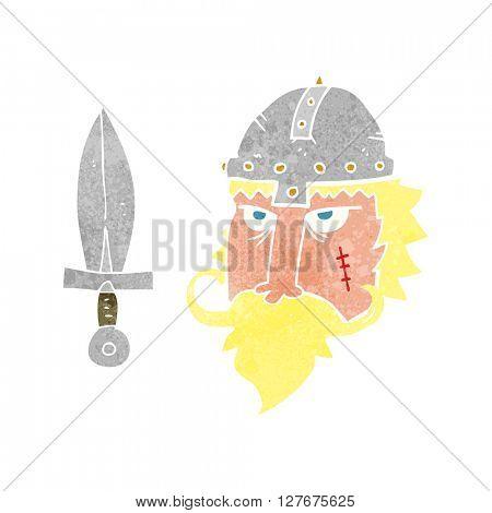 freehand drawn retro cartoon viking warrior