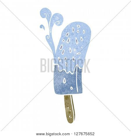 freehand drawn retro cartoon ice lolly