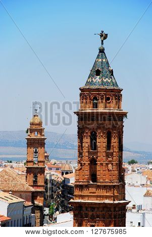 ANTEQUERA, SPAIN - JULY 1, 2008 - San Sebastian church tower with San Agustin church tower to the rear Antequera Malaga Province Andalucia Spain Western Europe, July 1, 2008.