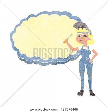 freehand drawn retro cartoon female mechanic