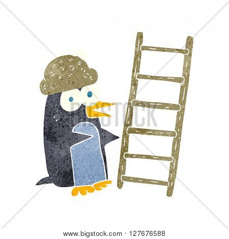 freehand drawn retro cartoon penguin with ladder
