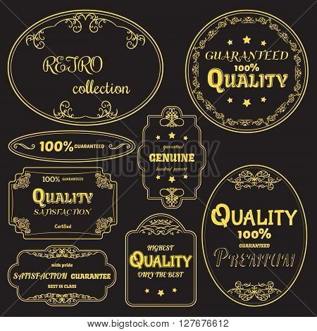 Gold collection of vector labels in retro style. For your vintage design and decoration. All layers are separated on black background