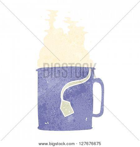freehand drawn retro cartoon mug of tea