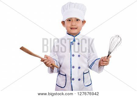 Asian Chinese Boy In White Chef Uniform Holding Baking Tools