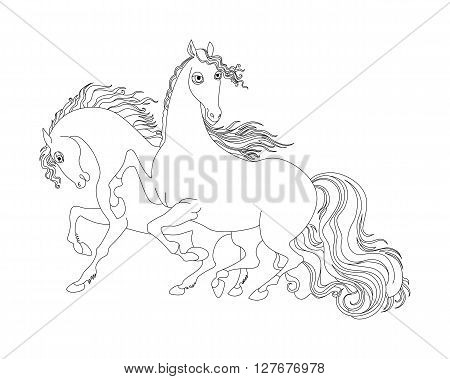 two horses. black and white illustration of isolated on white background. Coloring page.