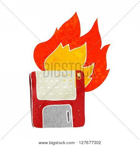 freehand drawn retro cartoon old computer disk burning