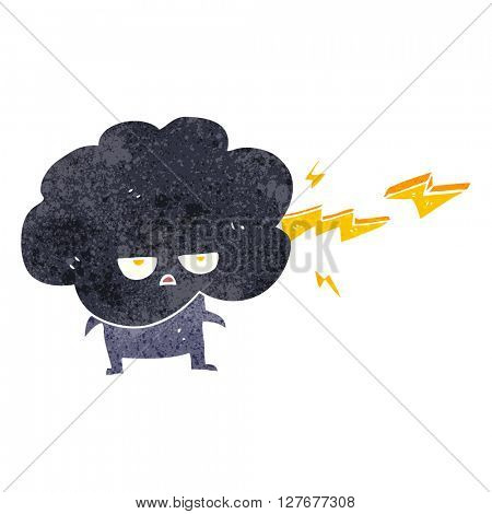 freehand drawn retro cartoon raincloud character shooting lightning