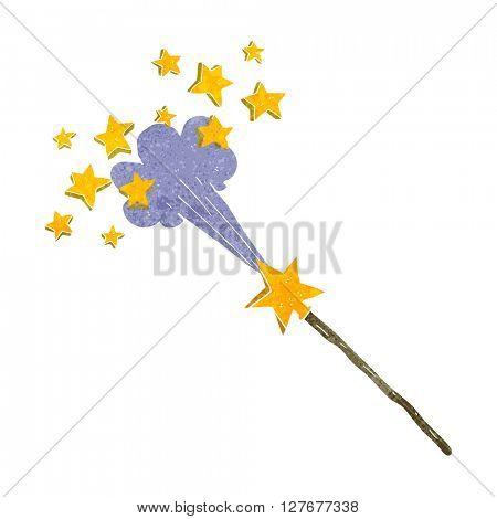 freehand drawn retro cartoon magic wand